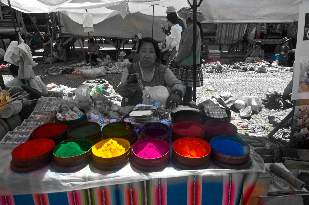 Pisac Market, rainbow vendor